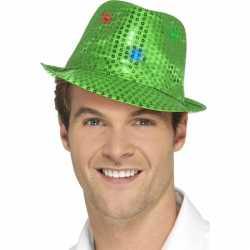 Pailletten hoedje groen led lichtjes