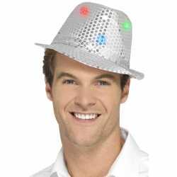 Pailletten hoedje zilver led lichtjes