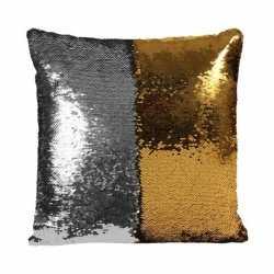 Pailletten kussen zilver/goud 40