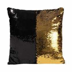 Pailletten kussen zwart/goud 40