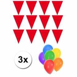 Pakket 3x vlaggenlijn XL rood incl gratis ballonnen