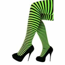 Panty gestreept groen zwart