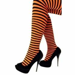 Panty gestreept oranje zwart