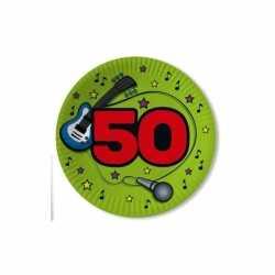 Papieren bordjes 50 jaar groen 10 stuks
