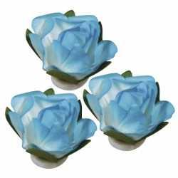 Papieren deco bloemen turquoise 1,5