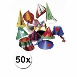 Papieren feesthoedjes 50 stuks kids