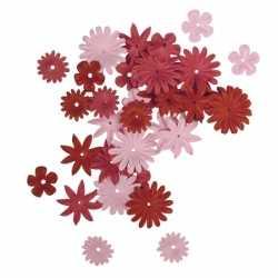 Papieren knutsel bloemen 36 stuks rood/roze
