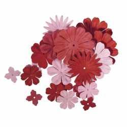 Papieren knutsel bloemen rood/roze