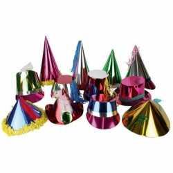 Papieren metallic feesthoedje volwassenen