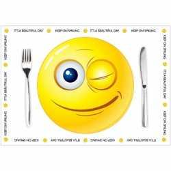 Papieren placemats Smiley thema 10 stuks