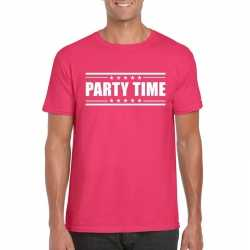 Party time t shirt fuchsia roze heren