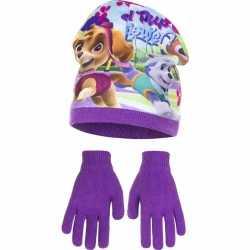 Paw patrol muts handschoenen paars meisjes