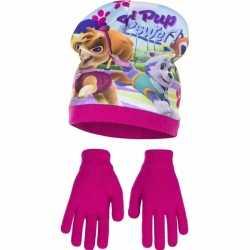 Paw patrol muts handschoenen roze meisjes