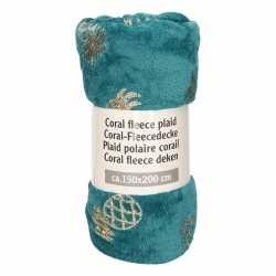 Petrol groen ananas print fleece deken 150 bij 200