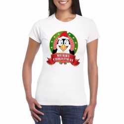 Pinguin kerst t shirt wit merry christmas dames
