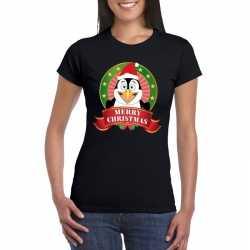 Pinguin kerst t shirt zwart merry christmas dames