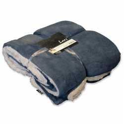 Pluche plaid/deken grijs blauw 150 bij 200