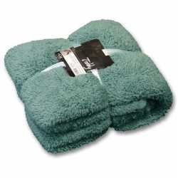 Pluche plaid/deken teddy mineraal blauw 150 bij 200