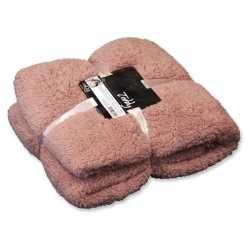 Pluche plaid/deken teddy oud roze 150 bij 200