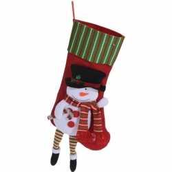 Rode kerstsok sneeuwpop kerstversiering hangdecoratie 47cm