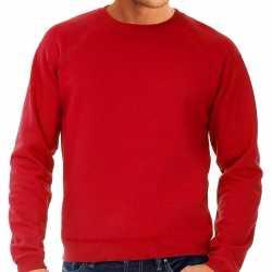 Rode sweater / sweatshirt trui raglan mouwen ronde hals heren