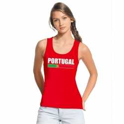 Rood portugal supporter singlet shirt/ tanktop dames