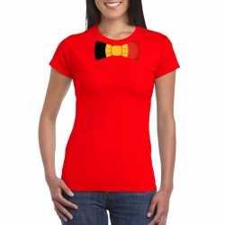Rood t shirt belgie vlag strikje dames