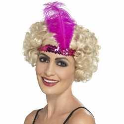 Roze charleston hoofdband dames
