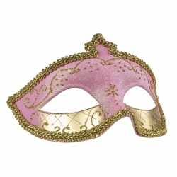 Roze/goud oogmasker glitters dames