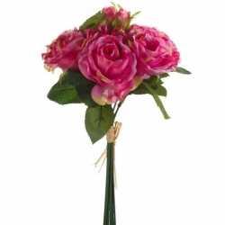 Roze rozen kunstbloemen boeket 30