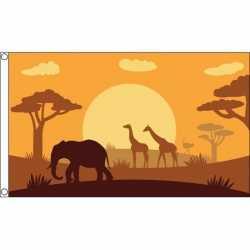 Safari dieren thema africa vlag 90 bij 150