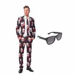 Schedel print heren kostuum maat 50 (l) gratis zonnebril