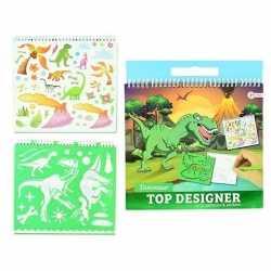 Schetsboek dino stickers sjablonen
