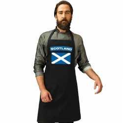 Schotland vlag barbecueschort/ keukenschort zwart volwassenen