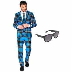 Schotse print heren kostuum maat 56 (xxxl) gratis zonnebril