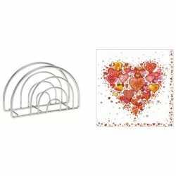 Servethouder gekleurde hartjesprint servetten