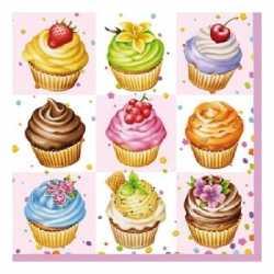 Servetten cupcakes vierkant roze 20 stuks
