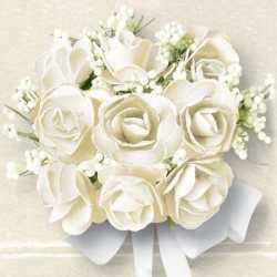 Servetten witte rozen 20 stuks