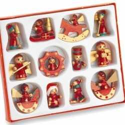 Set 12 houten kerstboomhangers