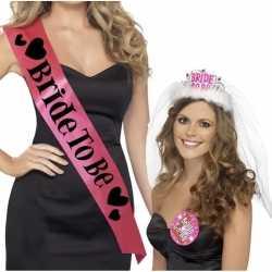 Set roze bride to be vrijgezellenfeest sjerpen tiara sluier