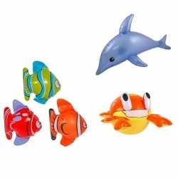 Set van 3x opblaasbare vissen een dolfijn een krab