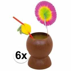 Set van 6x hawaii/tropische party kokosnoot drinkbekers