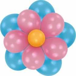 Setje bloem ballonnen blauw/roze