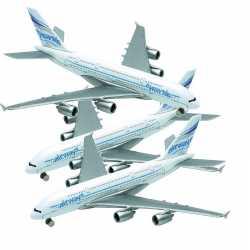 Setje van 3x stuks metalen speelgoed vliegtuigjes van 14