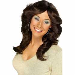 Seventies dames pruik bruin