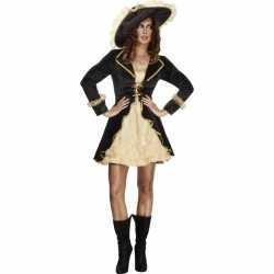 Sexy piraten dames jurkje zwart/goud