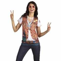 Shirt hippie opdruk dames