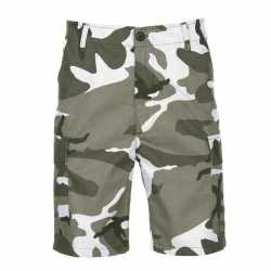 Shorts in urban camouflage print