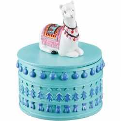 Sieradendoosje witte lama/alpaca rond 8