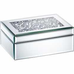 Sieradenkistje spiegel/zilver 22 bij 15 diamanten